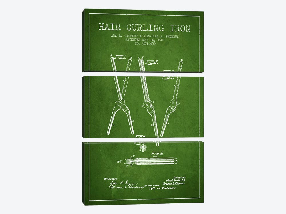 Hair Curling Iron Green Patent Blueprint by Aged Pixel 3-piece Canvas Print
