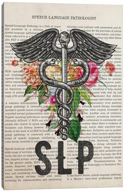 SLP, Speech Language Pathologist with Flowers Print Canvas Art Print
