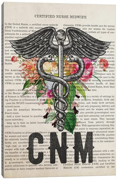CNM, Certified Nurse Midwife with Flowers Print Canvas Art Print