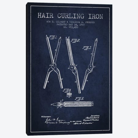 Hair Curling Iron Navy Blue Patent Blueprint Canvas Print #ADP325} by Aged Pixel Canvas Art Print