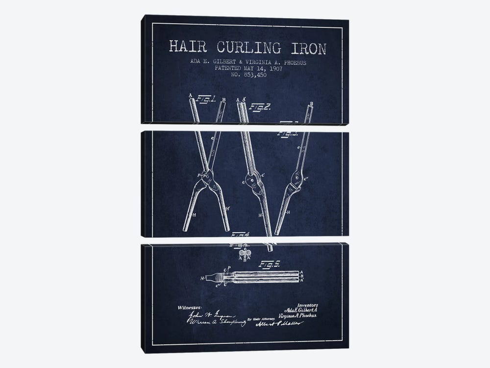 Hair Curling Iron Navy Blue Patent Blueprint 3-piece Canvas Art