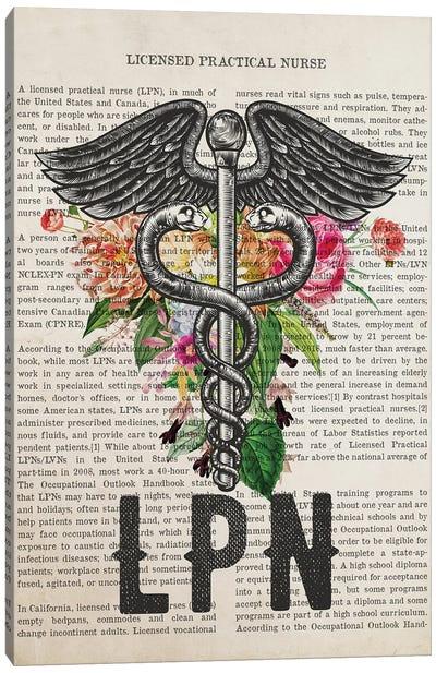 LPN, Licensed Practical Nurse with Flowers Print Canvas Art Print