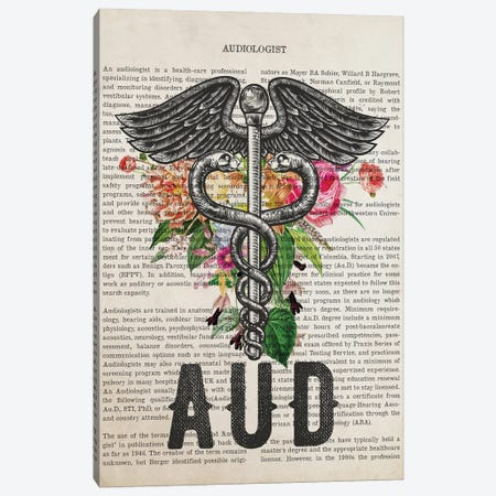 Aud, Audiologist With Flowers Print Canvas Print #ADP3262} by Aged Pixel Art Print
