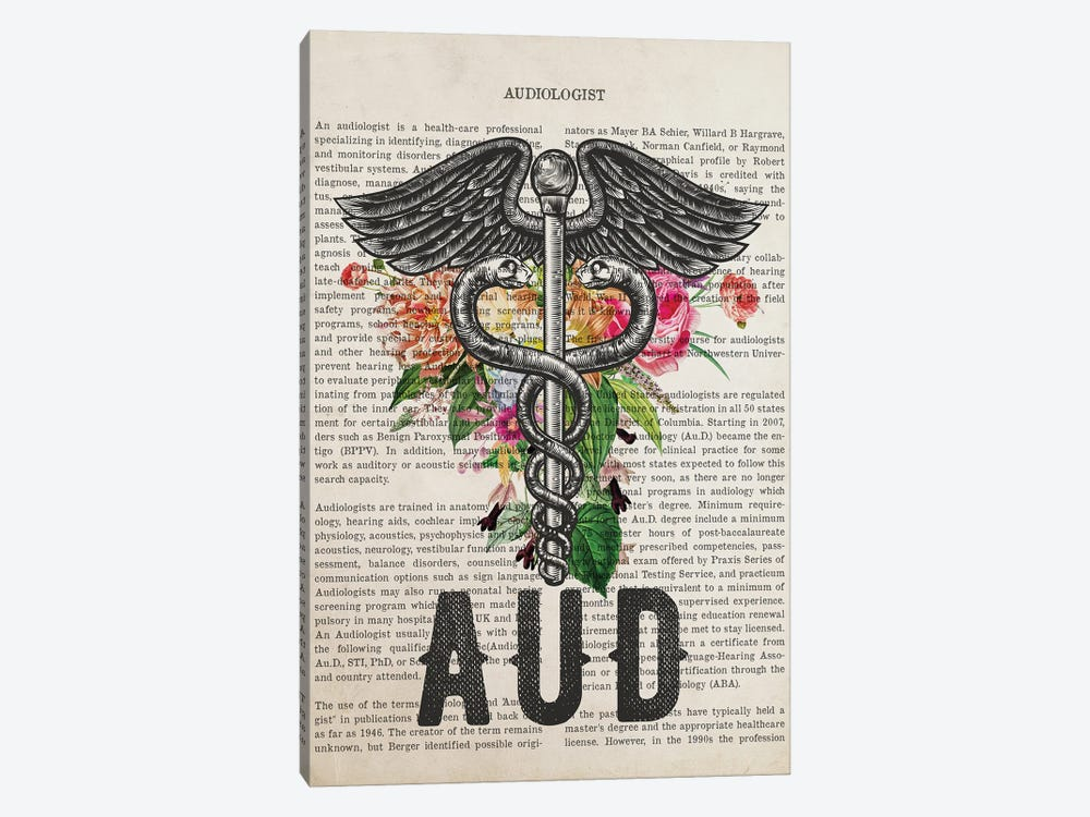 Aud, Audiologist With Flowers Print by Aged Pixel 1-piece Art Print
