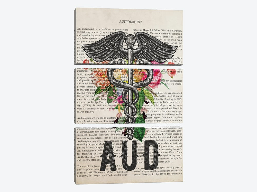 Aud, Audiologist With Flowers Print by Aged Pixel 3-piece Canvas Print