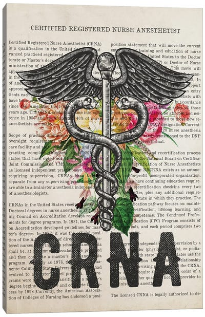 Crna, Certified Registered Nurse Anesthetist With Flowers Print Canvas Art Print