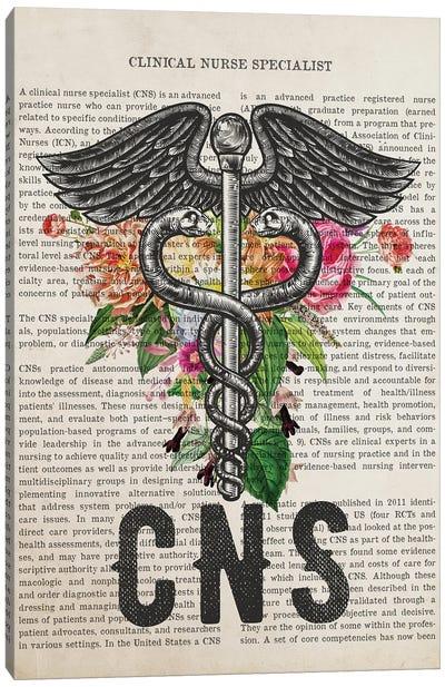 Cns, Clinical Nurse Specialist With Flowers Print Canvas Art Print
