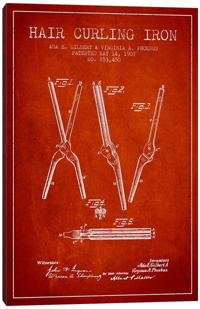 Hair Curling Iron Red Patent Blueprint Canvas Print #ADP326
