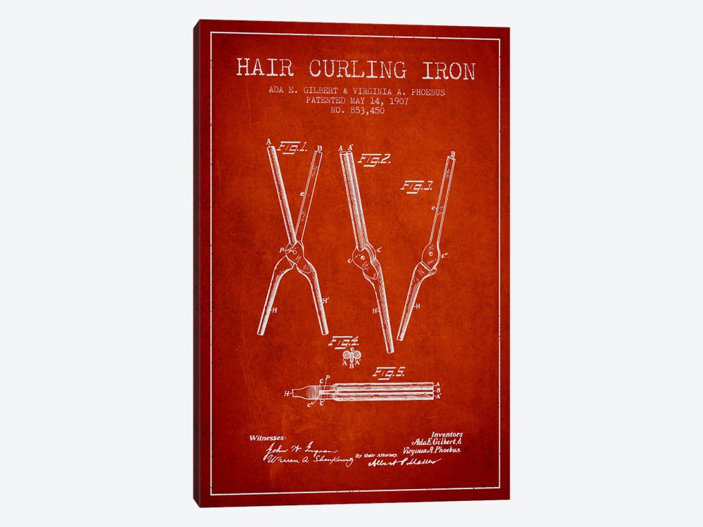 Hair Curling Iron Red Patent Blueprint by Aged Pixel 1-piece Canvas Art Print