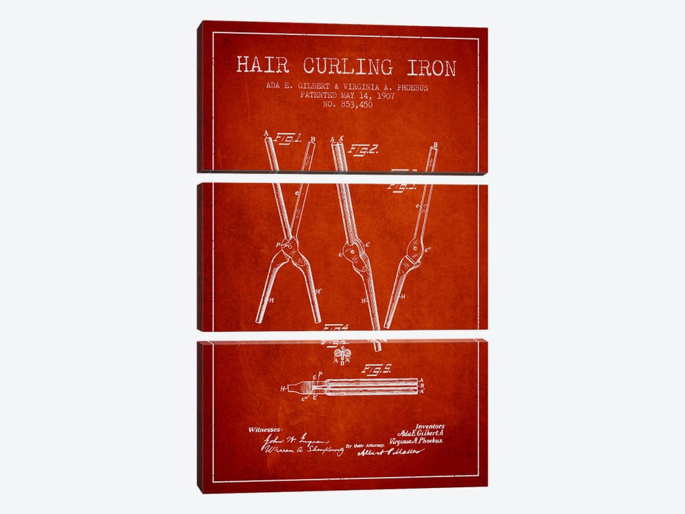 Hair Curling Iron Red Patent Blueprint by Aged Pixel 3-piece Art Print
