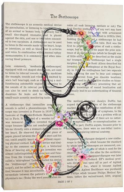 Stethoscope With Flowers Print, Medical Student Gift, Doctor And Nurse Graduation, Canvas Art Print