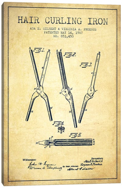 Hair Curling Iron Vintage Patent Blueprint Canvas Art Print