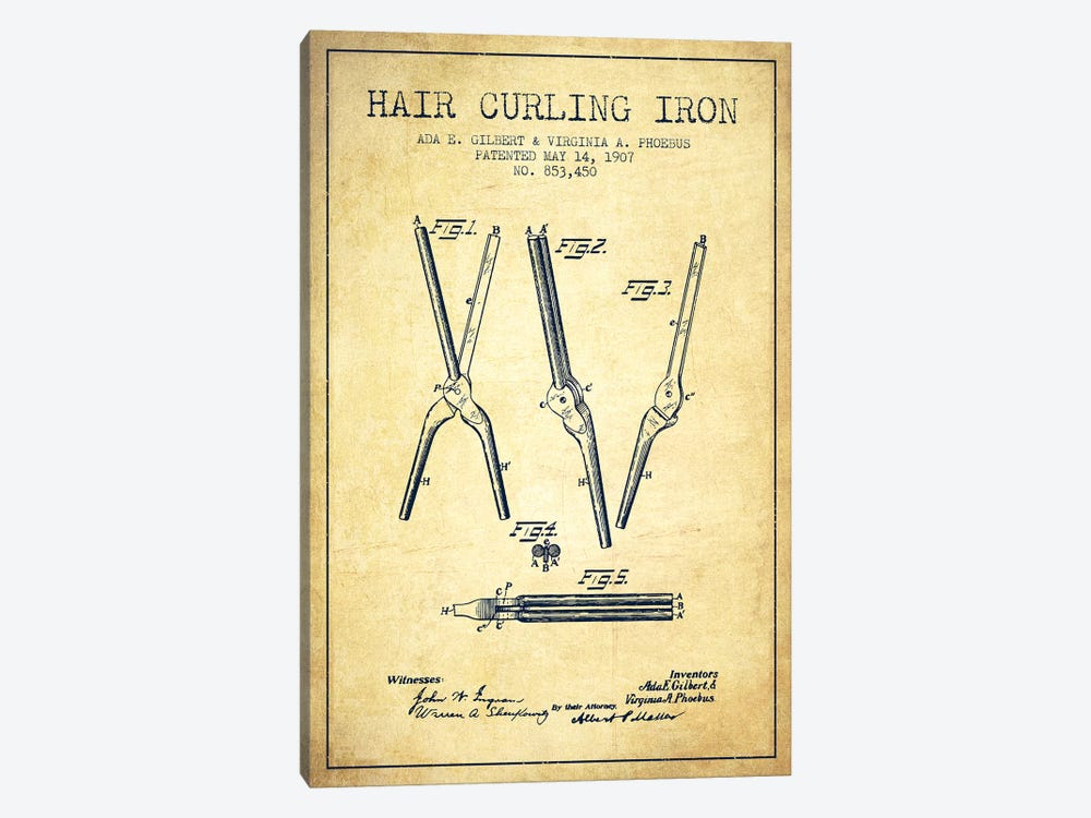 Hair Curling Iron Vintage Patent Blueprint by Aged Pixel 1-piece Canvas Wall Art
