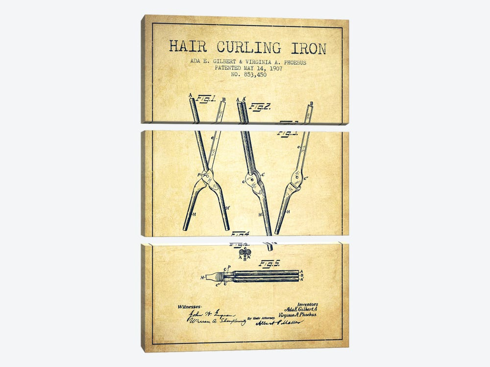 Hair Curling Iron Vintage Patent Blueprint by Aged Pixel 3-piece Canvas Artwork
