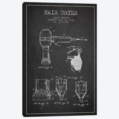 Hair Dryer Charcoal Patent Blueprint Canvas Print #ADP328} by Aged Pixel Canvas Wall Art