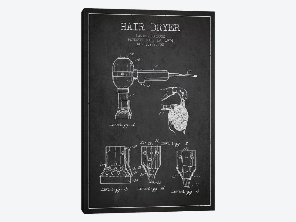 Hair Dryer Charcoal Patent Blueprint by Aged Pixel 1-piece Canvas Print