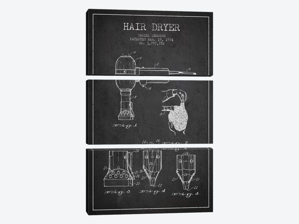 Hair Dryer Charcoal Patent Blueprint by Aged Pixel 3-piece Art Print
