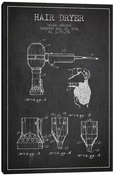 Hair Dryer Charcoal Patent Blueprint Canvas Art Print