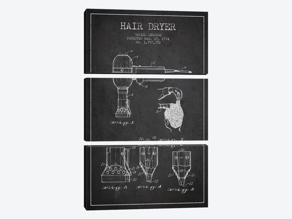 Hair Dryer Charcoal Patent Blueprint by Aged Pixel 3-piece Art Print