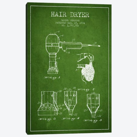 Hair Dryer Green Patent Blueprint Canvas Print #ADP329} by Aged Pixel Canvas Art