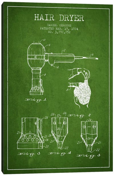 Hair Dryer Green Patent Blueprint Canvas Art Print