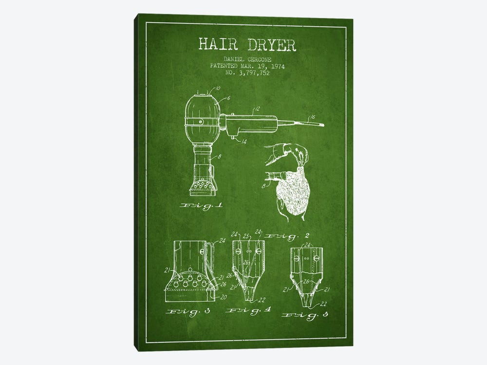 Hair Dryer Green Patent Blueprint by Aged Pixel 1-piece Canvas Art