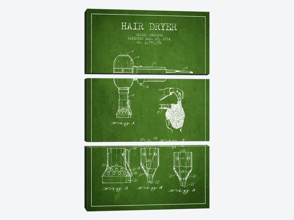 Hair Dryer Green Patent Blueprint by Aged Pixel 3-piece Canvas Wall Art