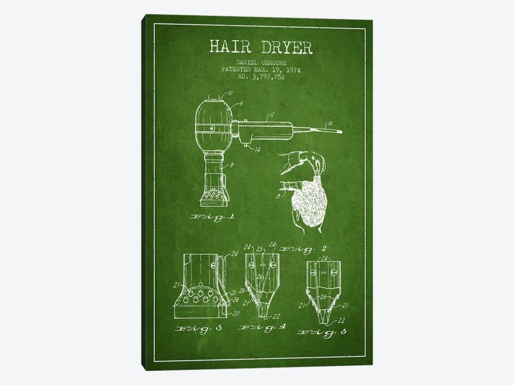 Hair Dryer Green Patent Blueprint by Aged Pixel 1-piece Canvas Art