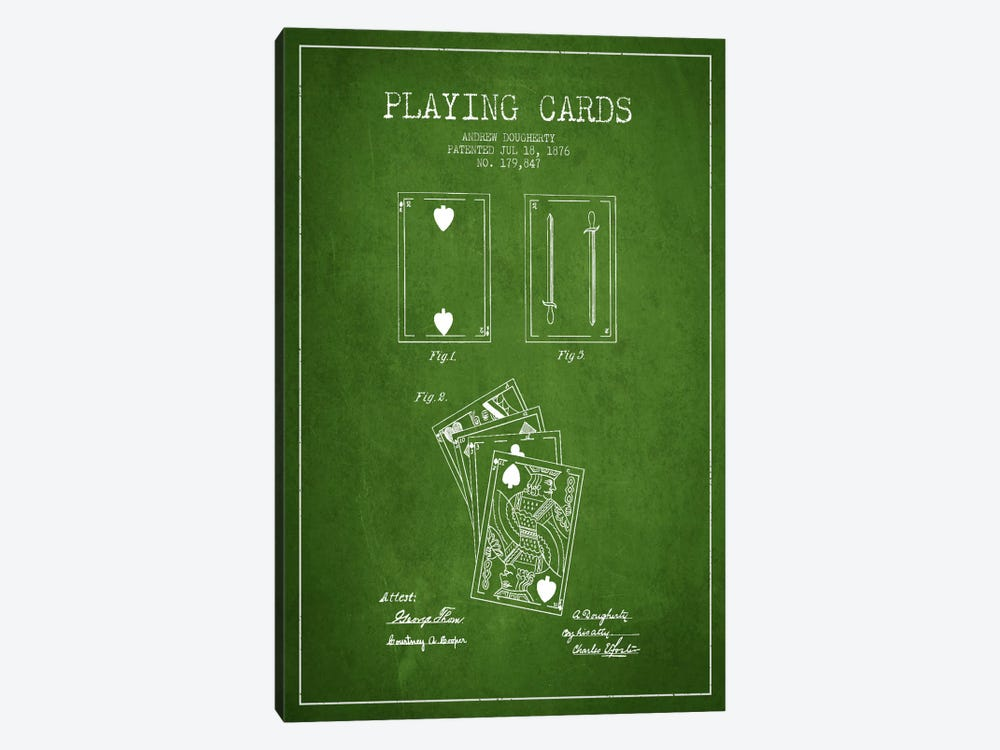 Dougherty Cards Green Patent Blueprint by Aged Pixel 1-piece Canvas Wall Art