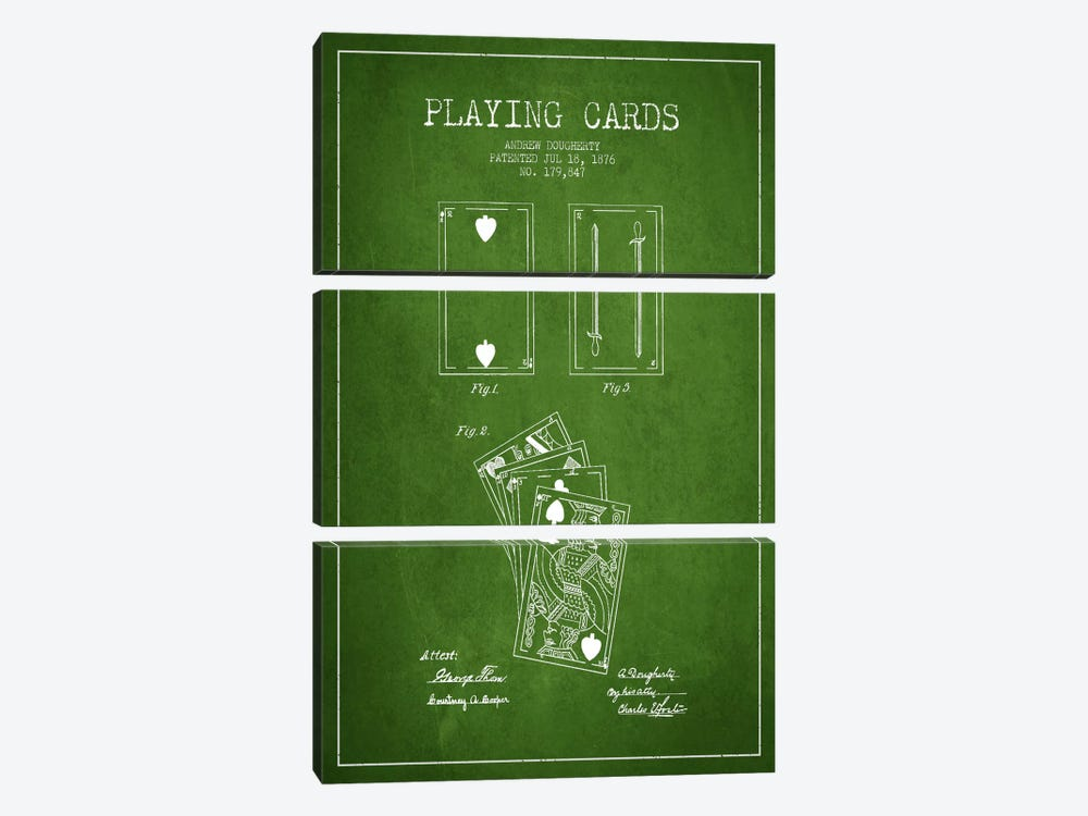 Dougherty Cards Green Patent Blueprint by Aged Pixel 3-piece Canvas Art