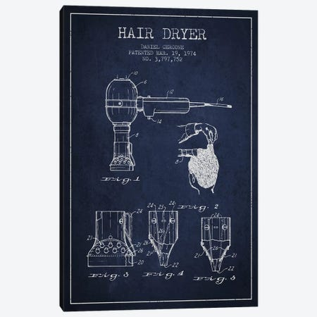 Hair Dryer Navy Blue Patent Blueprint Canvas Print #ADP330} by Aged Pixel Canvas Art Print