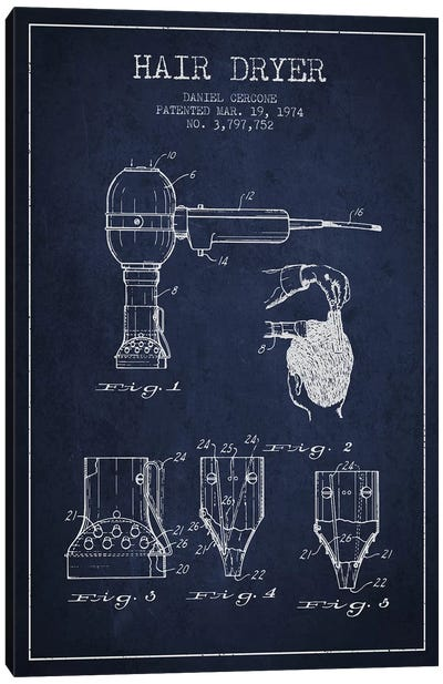 Hair Dryer Navy Blue Patent Blueprint Canvas Art Print
