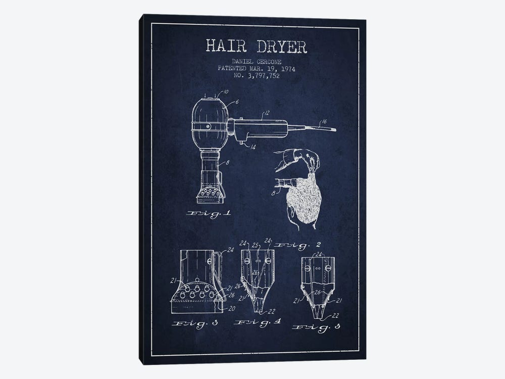 Hair Dryer Navy Blue Patent Blueprint by Aged Pixel 1-piece Canvas Wall Art