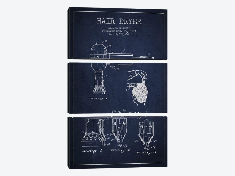 Hair Dryer Navy Blue Patent Blueprint by Aged Pixel 3-piece Canvas Artwork