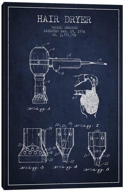 Hair Dryer Navy Blue Patent Blueprint Canvas Art Print