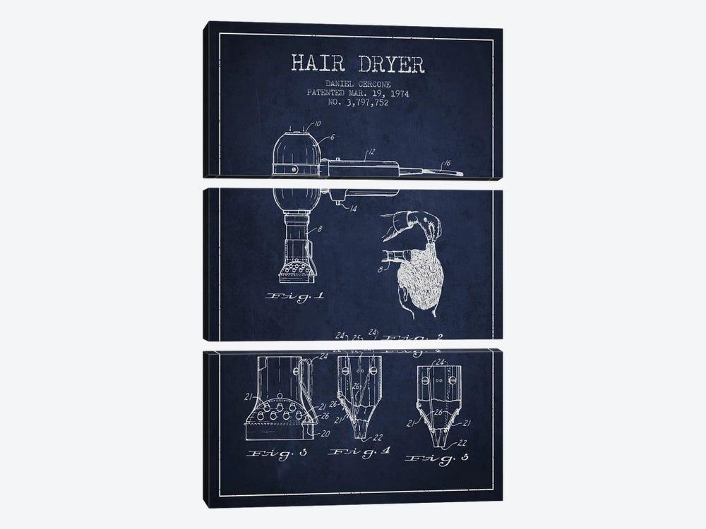 Hair Dryer Navy Blue Patent Blueprint by Aged Pixel 3-piece Canvas Artwork
