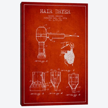 Hair Dryer Red Patent Blueprint Canvas Print #ADP331} by Aged Pixel Canvas Print