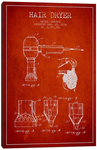 Hair Dryer Red Patent Blueprint Canvas Print #ADP331