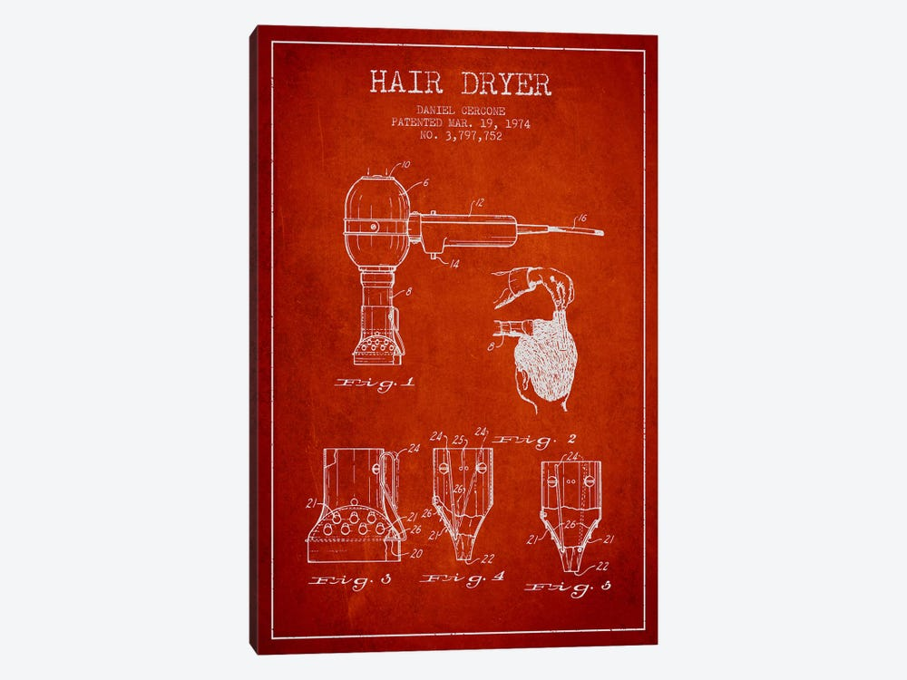 Hair Dryer Red Patent Blueprint by Aged Pixel 1-piece Canvas Print