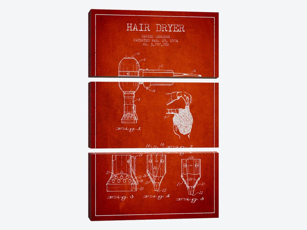 Hair Dryer Red Patent Blueprint by Aged Pixel 3-piece Canvas Print