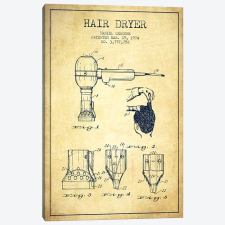Hair Dryer Vintage Patent Blueprint Canvas Print #ADP332} by Aged Pixel Canvas Print