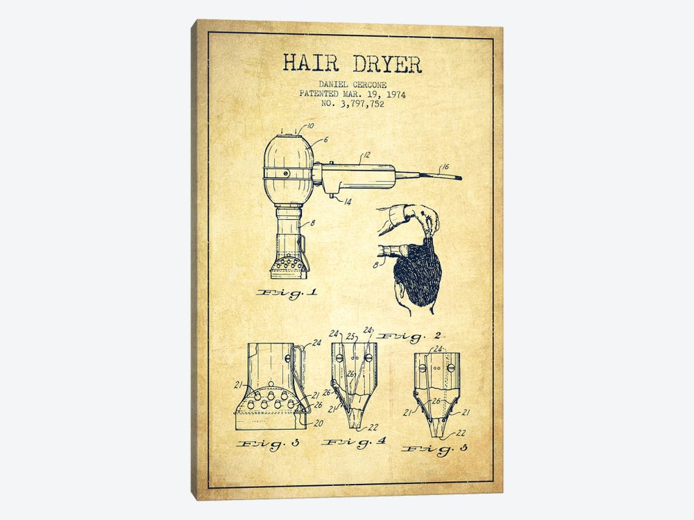 Hair Dryer Vintage Patent Blueprint Canvas Wall Art by Aged Pixel ...
