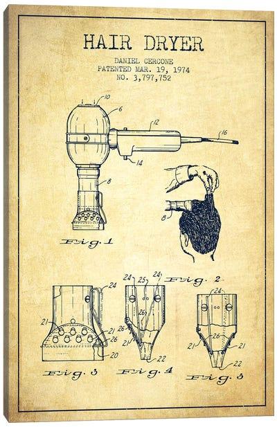 Hair Dryer Vintage Patent Blueprint Canvas Art Print