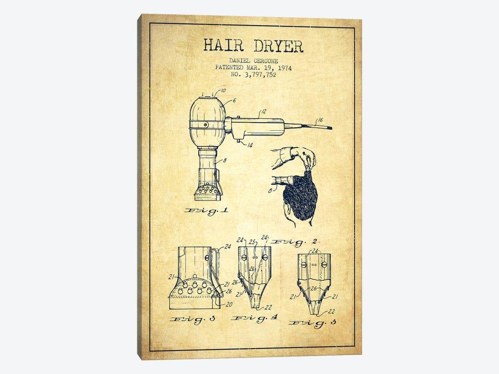 Hair Dryer Vintage Patent Blueprint by Aged Pixel 1-piece Canvas Art