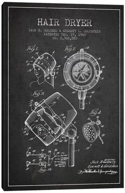 Hair Dryer Sound Charcoal Patent Blueprint Canvas Art Print