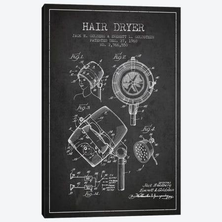 Hair Dryer Sound Charcoal Patent Blueprint Canvas Print #ADP333} by Aged Pixel Canvas Art Print