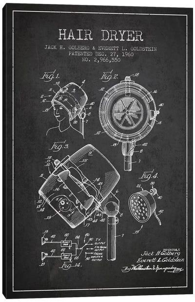 Hair Dryer Sound Charcoal Patent Blueprint Canvas Art Print