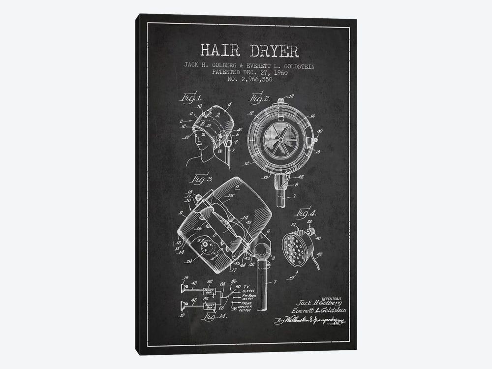 Hair Dryer Sound Charcoal Patent Blueprint by Aged Pixel 1-piece Canvas Print
