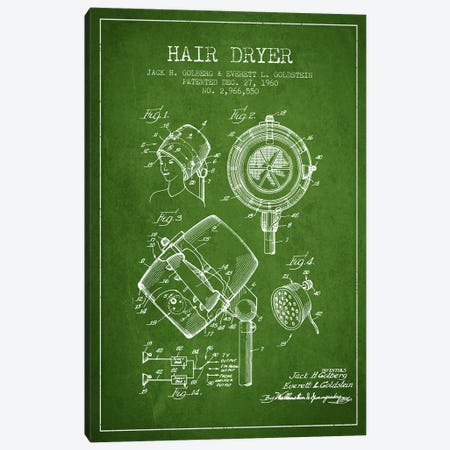 Hair Dryer Sound Green Patent Blueprint Canvas Print #ADP334} by Aged Pixel Canvas Wall Art