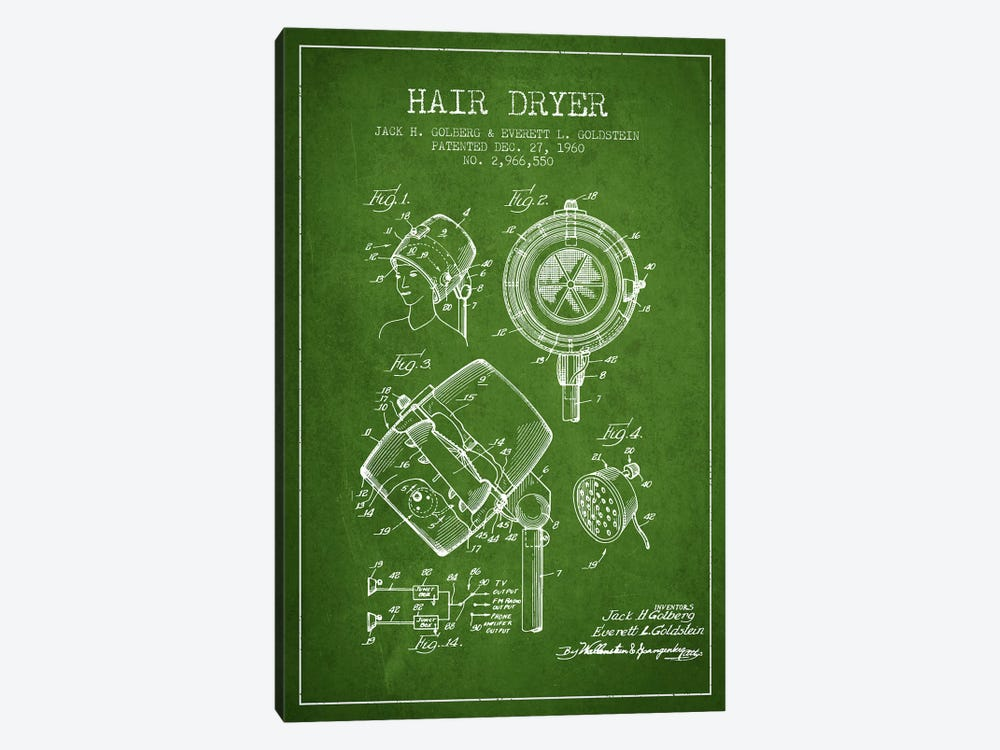 Hair Dryer Sound Green Patent Blueprint by Aged Pixel 1-piece Canvas Wall Art